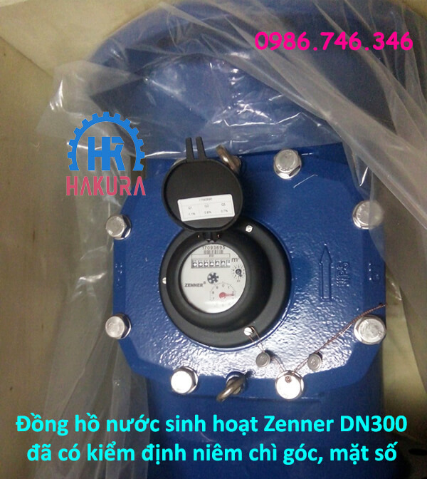 Đồng hồ nước sinh hoạt Zenner DN300 đã có kiểm định niêm chì góc, mặt số