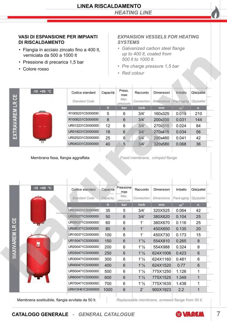 Catalogue thông số kỹ thuật bình tích áp varem 100 lit