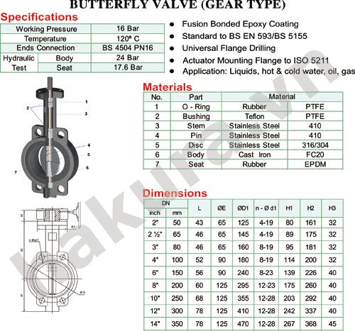 Catalogue thông số kỹ thuật van bướm tay gạt butterfly PN16-hakura.vn
