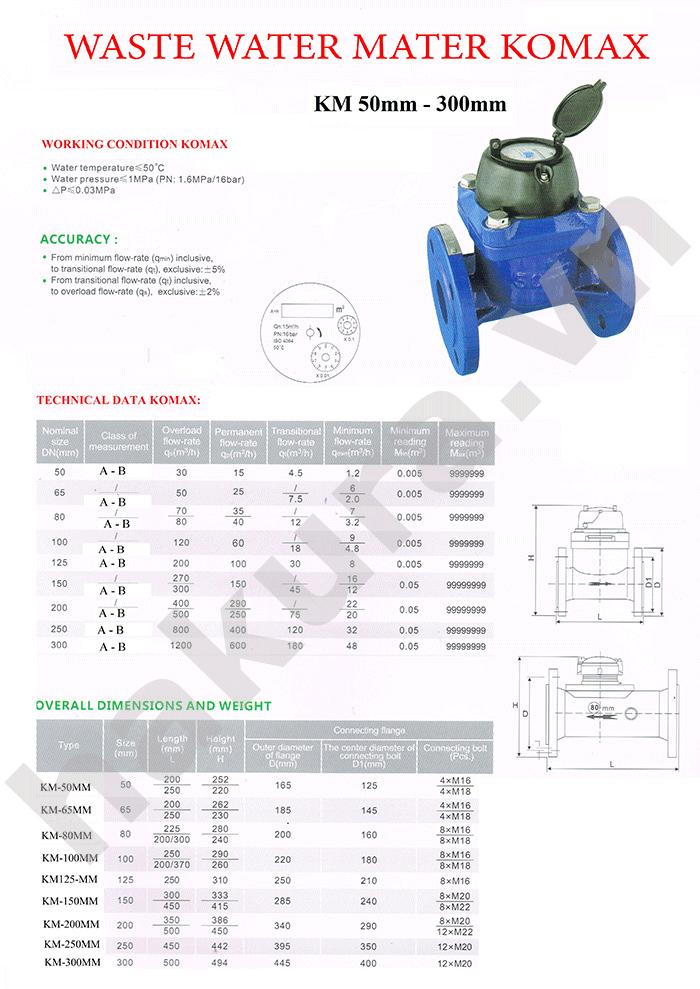Catalogue thông số kỹ thuật đồng hồ đo lưu lượng nước sạch Komax DN50-hakura.vn