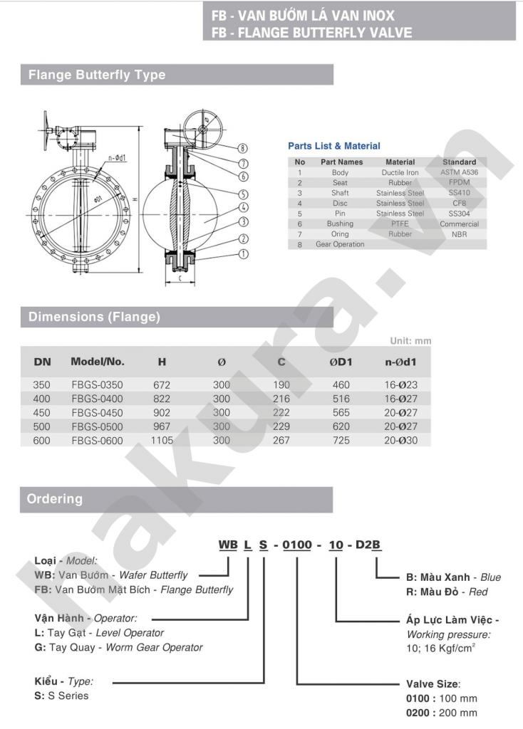 Catalogue thông số kỹ thuật Van bướm tay quay WBGS-hakura.vn