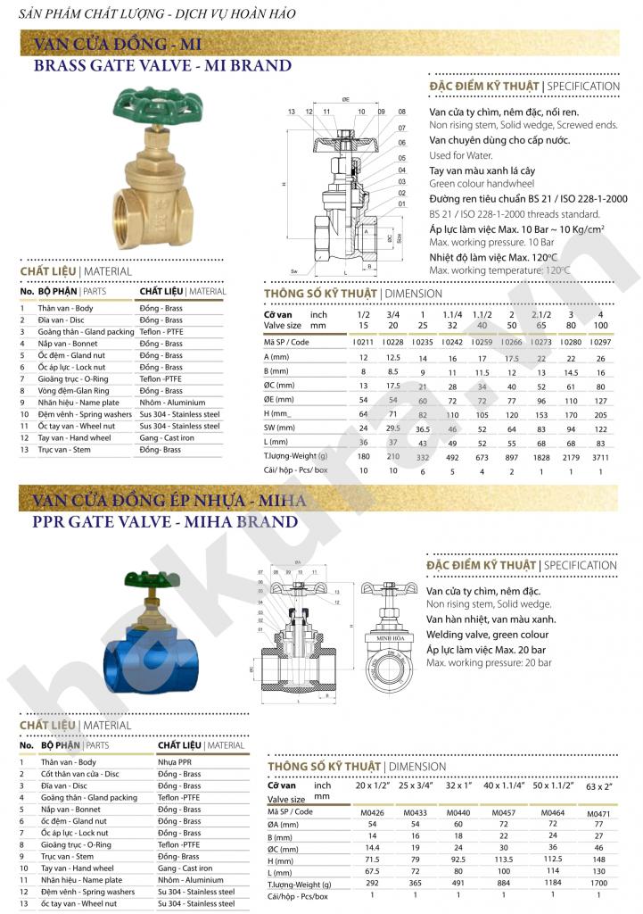 Catalogue thông số kỹ thuật van cửa đồng-hakura.vn