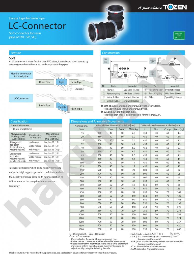 Catalogue thông số kỹ thuật Khớp nối mềm cao su chống rung-hakura.vn