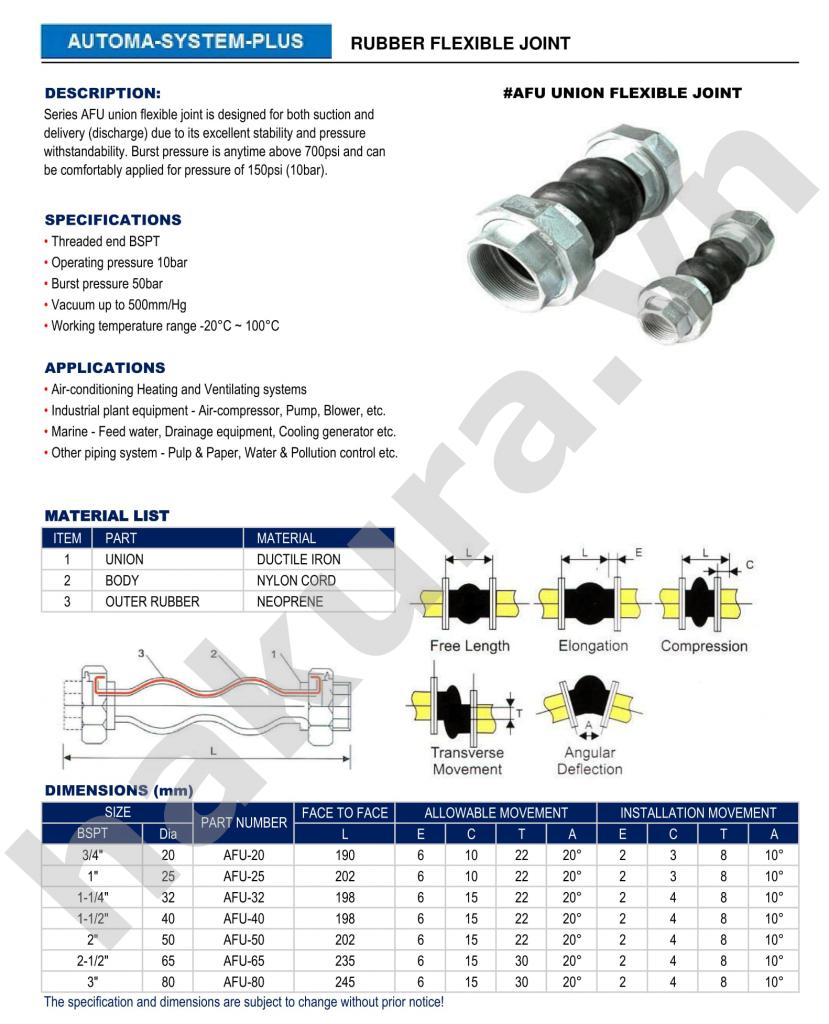 Catalogue thông số kỹ thuật khớp nối mềm cao su khớp nối giãn nở-hakura.vn