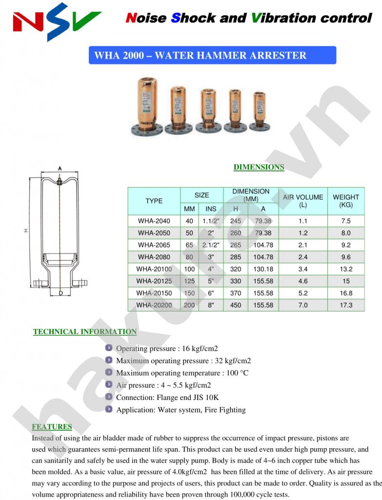 Catalogue thông số kỹ thuật van búa giảm chấn chống va đập-hakura.vn-ảnh