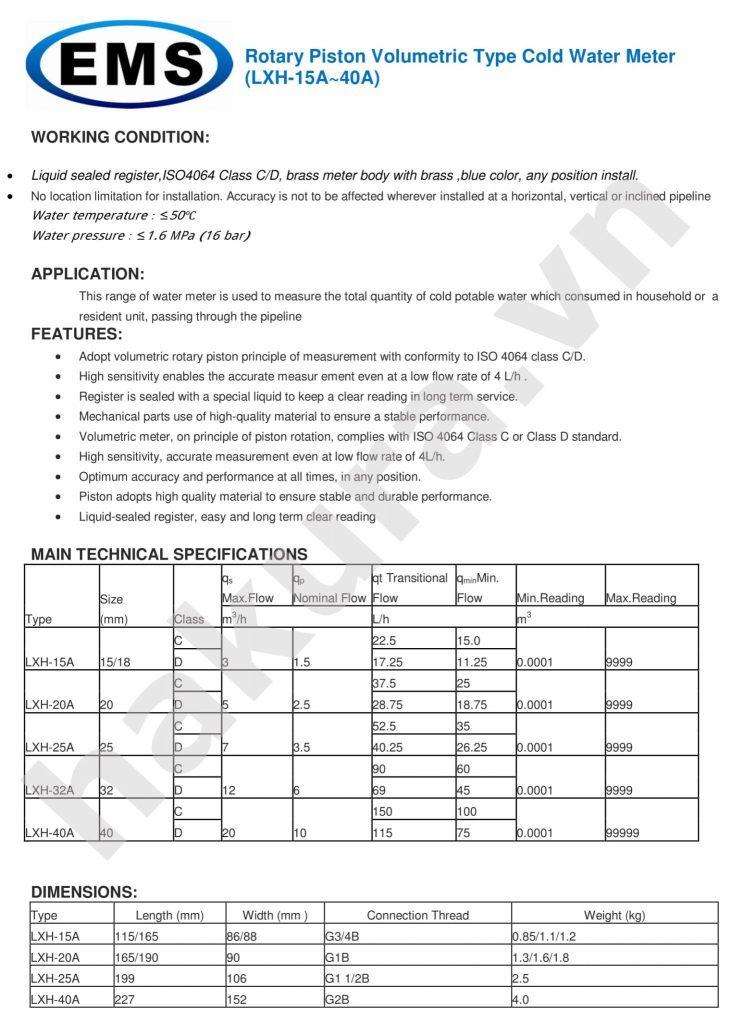 Catalogue thông số kỹ thuật đồng hồ đo nước sạch EMS dạng pittong LXH-15A~40A-hakura.vn