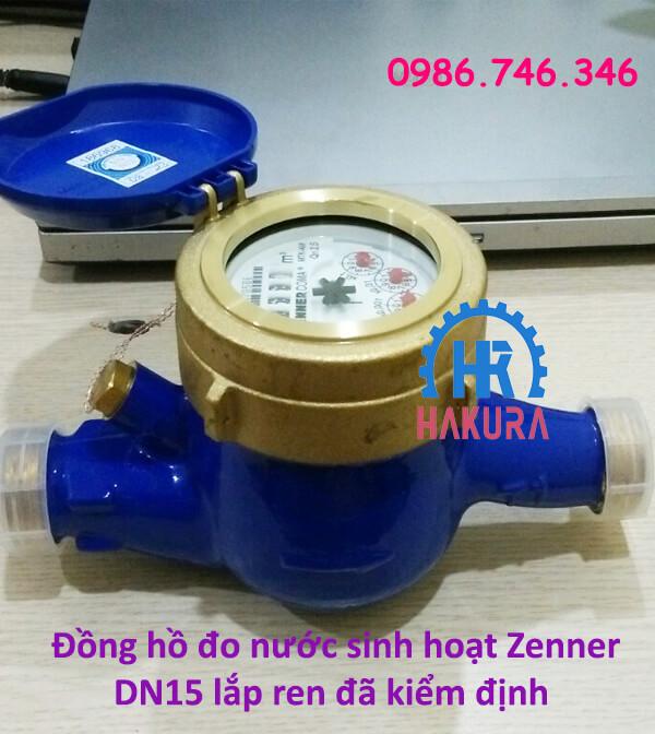 Đồng hồ đo nước sạch Zenner DN15 lắp ren đã kiểm định