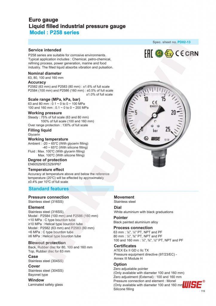 Catalogue thông số kỹ thuật đồng hồ áp suất Wise Model P258-hakura.vn