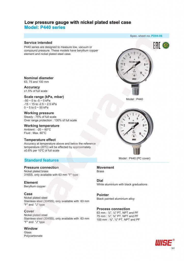 Catalogue thông số kỹ thuật đồng hồ áp suất Wise Model P440