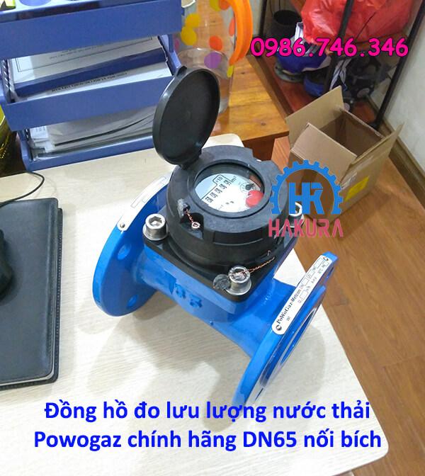 Đồng hồ đo lưu lượng nước thải Powogaz chính hãng DN65 nối bích