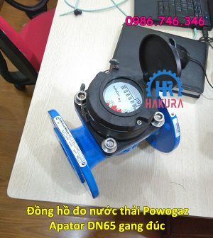 Đồng hồ đo nước thải Powogaz Apator DN65 gang đúc