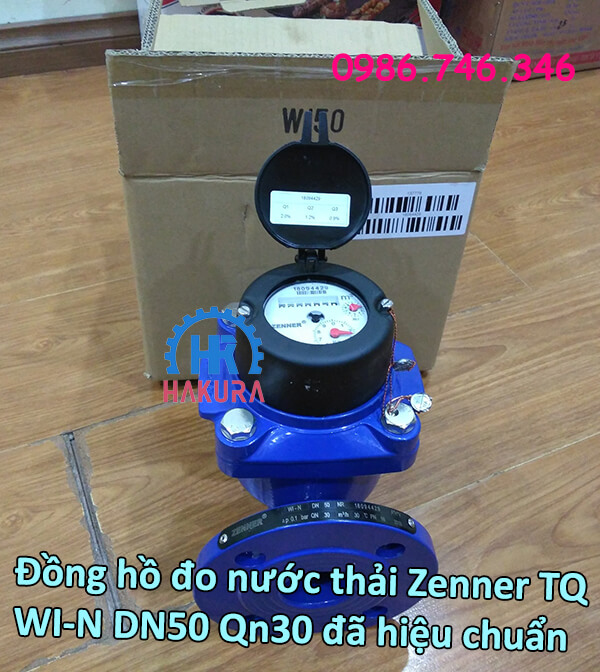 Đồng hồ đo nước thải Zenner Trung Đức WI-N DN50 Qn30 đã hiệu chuẩn