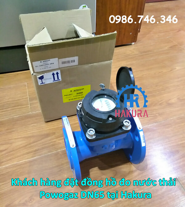 Khách hàng đặt đồng hồ đo nước thải Powogaz DN65 tại Hakura