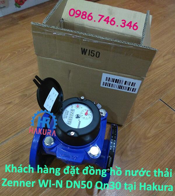 Khách hàng đặt đồng hồ nước thải Zenner WI-N DN50 Qn30 tại Hakura