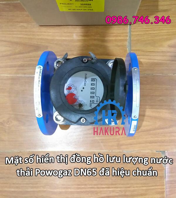 Mặt số hiển thị đồng hồ lưu lượng nước thải Powogaz DN65 đã hiệu chuẩn