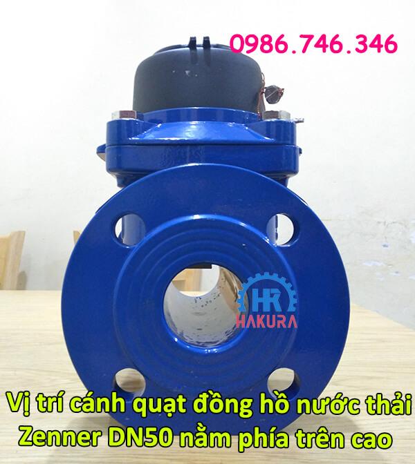 Vị trí cánh quạt đồng hồ đo nước thải Zenner DN50 nằm phía trên cao thân đồng hồ nước