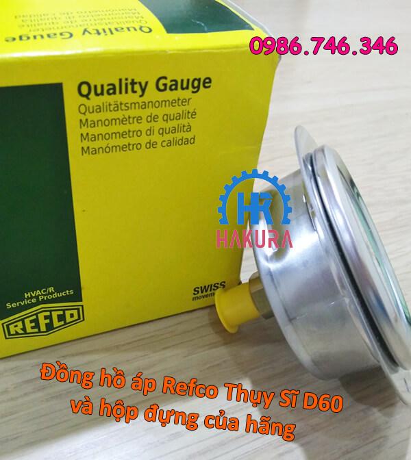 Đồng hồ áp Refco Thụy Sĩ D60 và hộp đựng của hãng
