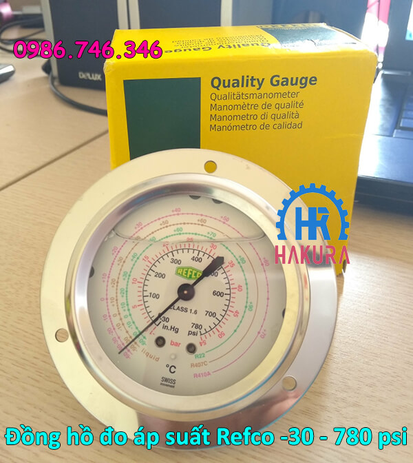 Đồng hồ đo áp suất Refco -30 - 780 psi