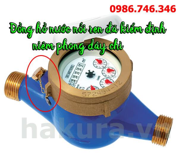 Hình ảnh về đồng hồ nước nối ren đã được kiểm định với dây chì niêm phong