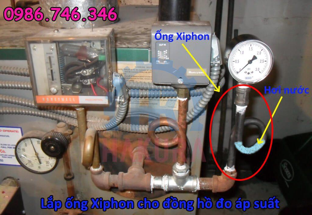 Lắp ống xiphon cho đồng hồ đo áp suất - Hakura.vn