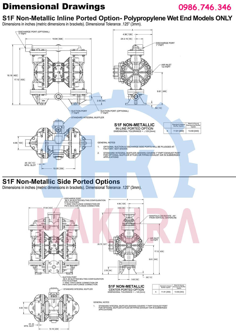 Bản vẽ cấu tạo bơm màng Sandpiper S1FB1ANWABS100 - 1