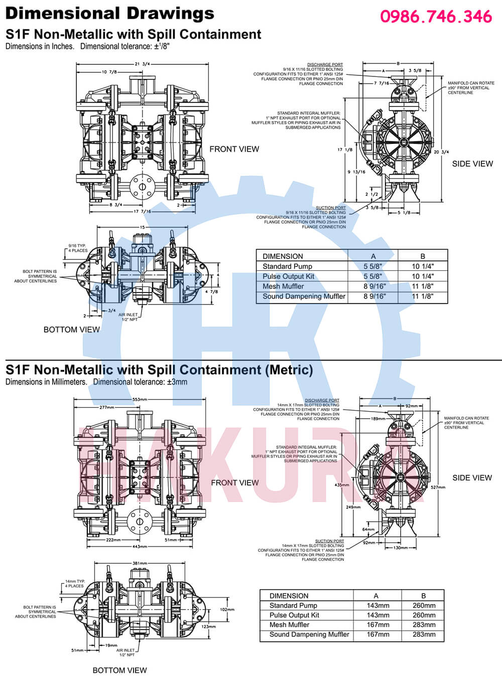 Bản vẽ cấu tạo bơm màng Sandpiper S1FB1ANWABS100 - 2