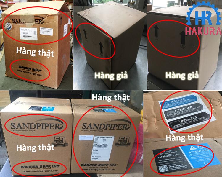 Phân biệt bơm màng Sandpiper giả - thật dựa trên thùng carton