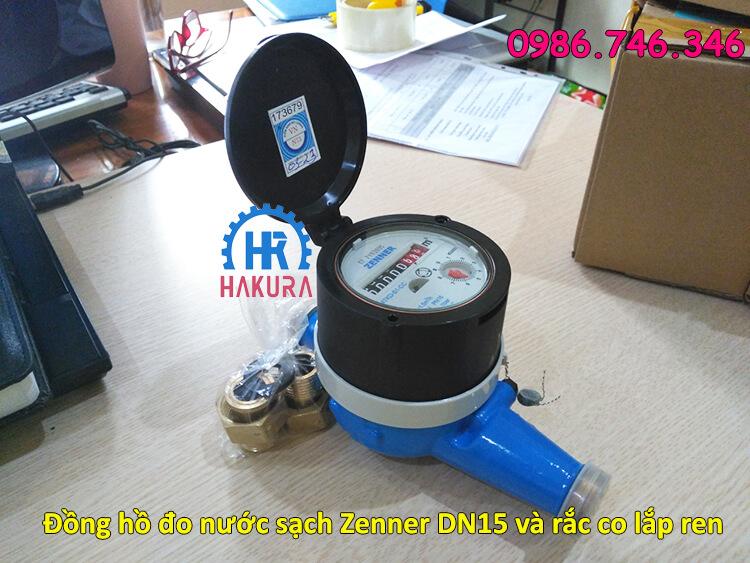 Đồng hồ đo lưu lượng Zenner DN15 và rắc co lắp ren