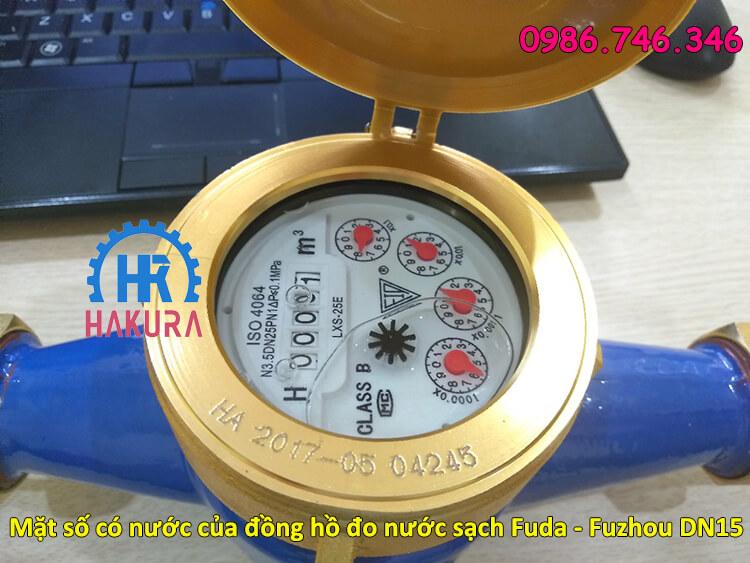 Mặt số có nước của đồng hồ lưu lượng Fuda Fuzhou DN15