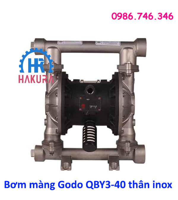 Bơm màng Godo QBY3-40 thân inox Shanghai