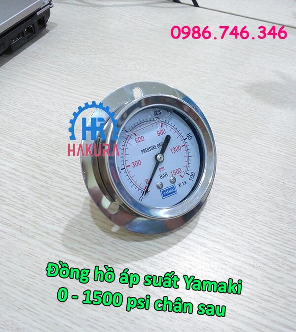 Đồng hồ áp suất Yamaki dải đo 0 - 1500 psi chân sau