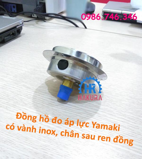 Đồng hồ đo áp lực Yamaki vành inox chân sau ren đồng