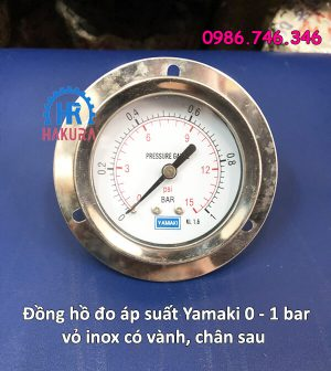 Đồng hồ đo áp suất Yamaki 0 - 1 bar vỏ inox có vành chân sau
