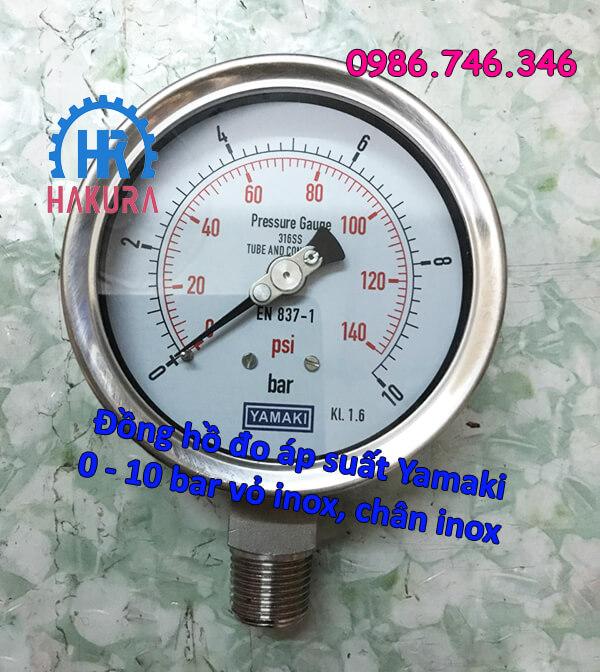 Đồng hồ đo áp suất Yamaki 0 - 10 bar vỏ inox, chân inox