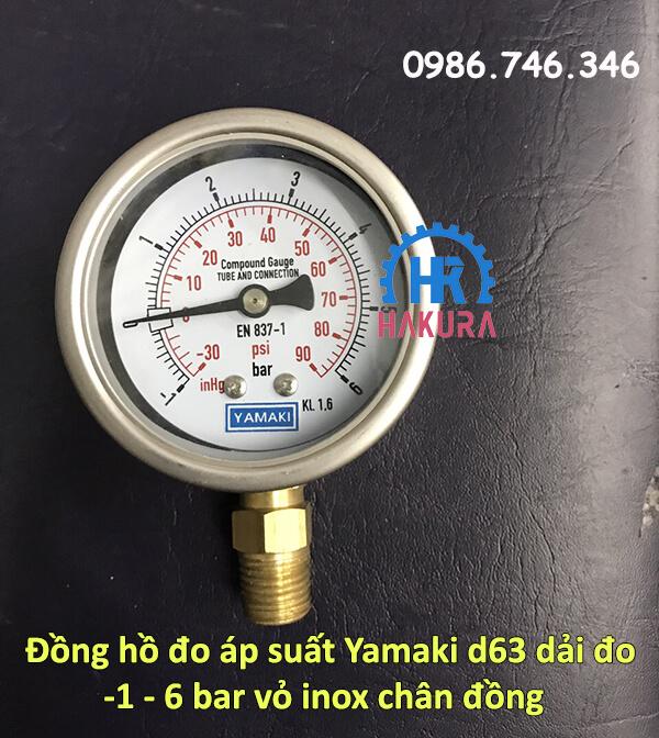 Đồng hồ đo áp suất Yamaki 63 mm dải đo -1 - 6 bar vỏ inox, chân đồng
