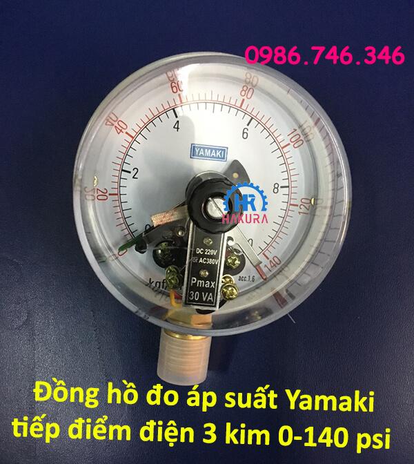 """Đồng hồ đo áp suất Yamaki tiếp điểm điện 3 kim dải đo 0 – 140 psi chân ren đồng 1/2"""""""