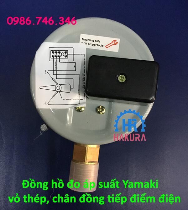 Đồng hồ đo áp suất Yamaki vỏ thép chân đồng tiếp điểm điện