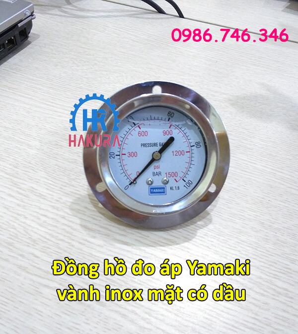 Đồng hồ đo áp Yamaki vành inox mặt có dầu