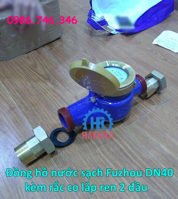 Đồng hồ nước sinh hoạt Fuzhou DN40 kèm rắc co lắp ren 2 đầu