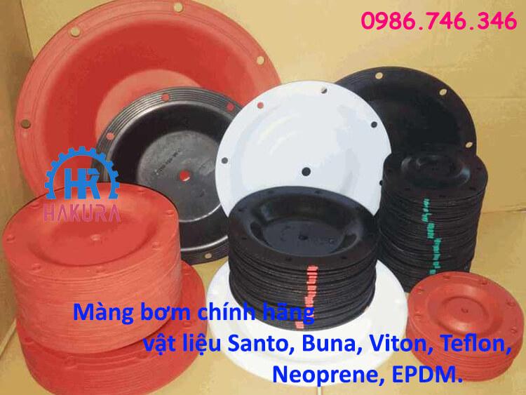 Màng bơm Sandpiper chính hãng vật liệu Santo, Buna, Viton, Teflon, Neoprene, EPDM