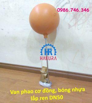 Van phao cơ đồng bóng nhựa lắp ren DN50