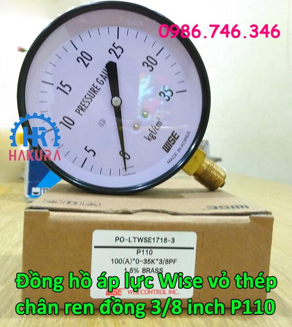 Đồng hồ áp lực Wise vỏ thép chân ren đồng 3/8 inch P110