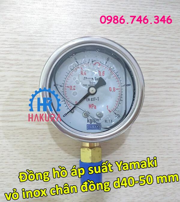 Đồng hồ áp suất Yamaki vỏ inox chân đồng ren D40 - 50 mm