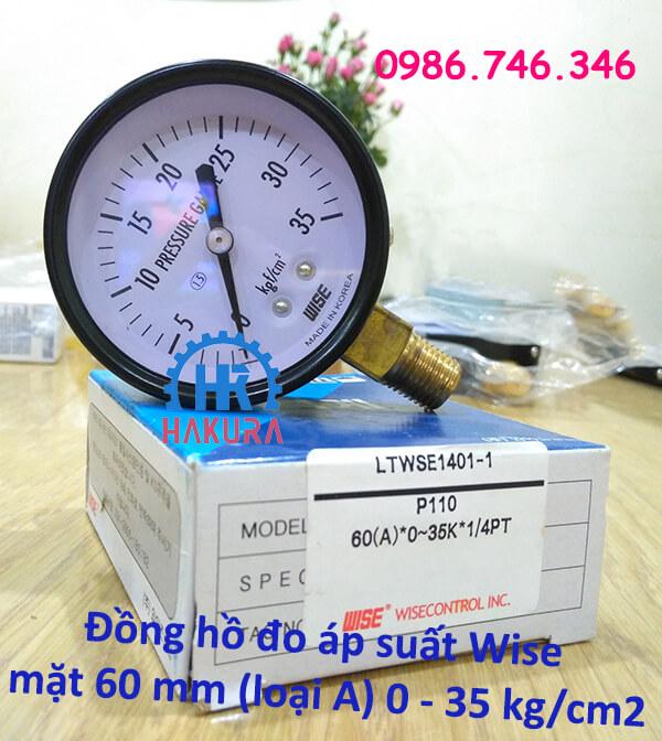 Đồng hồ đo áp suất Wise mặt 60mm (loại A) 0-35 kg/cm2