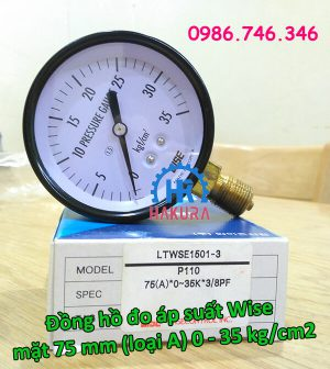 Đồng hồ đo áp suất Wise mặt 75mm (loại A) 0-35 kg/cm2