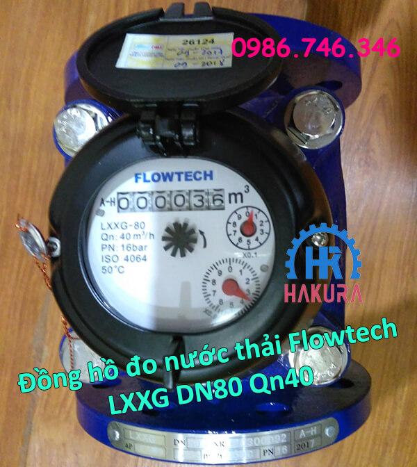 Đồng hồ đo nước thải Flowtech Malaysia LXXG-80 Qn40