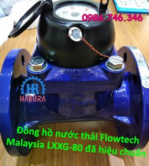 Đồng hồ nước thải Flowtech chính hãng Malaysia LXXG-80 đã hiệu chuẩn