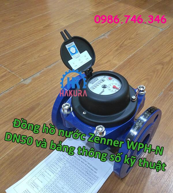 Đồng hồ nước Zenner WPH-N DN50 vả bảng thông số kỹ thuật