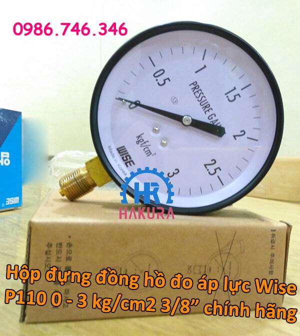 Hộp đứng đồng hồ đo áp lực Wise P110 0-3 kg/cm2 3/8 inch chính hãng