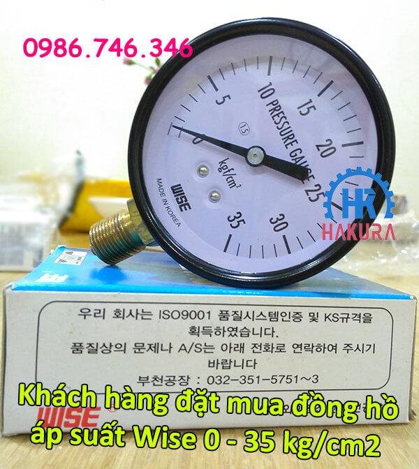 Khách hàng đặt mua đồng hồ áp suất Wise 0-35 kg/cm2
